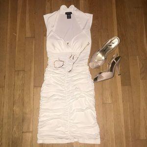White Venus Ruched Dress